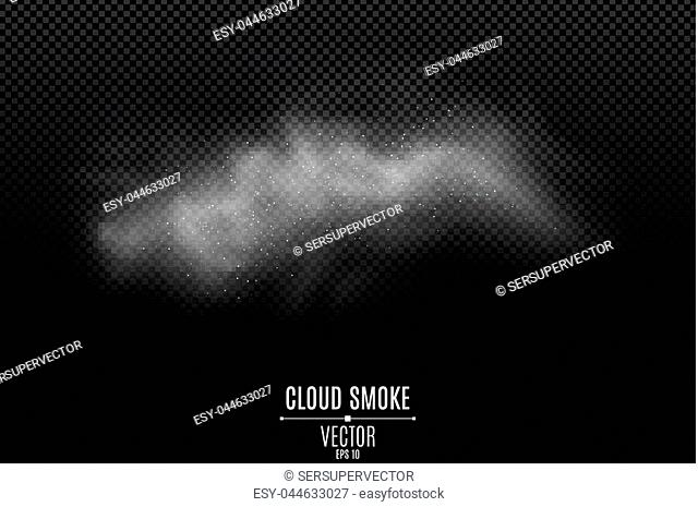 Smoke on a transparent dark background. A thick fog. Smoke from the fire. White dust. Thick cloud. Smoke effect for your design. Vector illustration