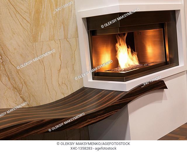 Gas fireplace  Interior design