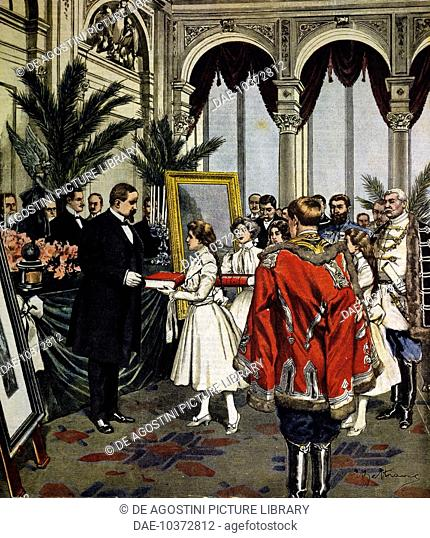 The anniversary of the author of Quo Vadis ?, presentation of gifts to Sinkievicz in Warsaw, illustration by Achille Beltrame, La Domenica del Corriere, No