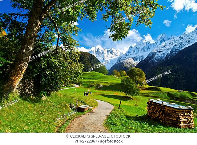 The view of the snow-capped peaks of the Bondasca Valley from the village of Soglio, Val Bregaglia, Switzerland Europe
