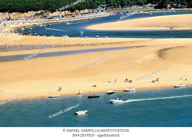 Mundaka beach and the Gernika estuary, Vizcaya Province, Basque Country, Spain