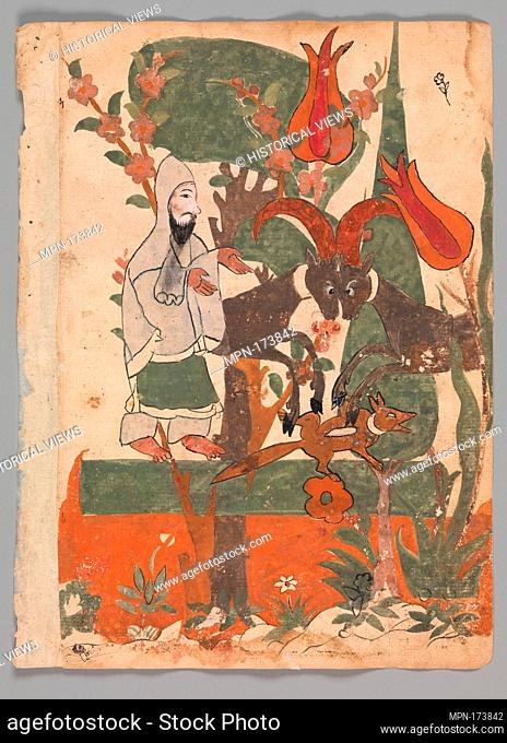 The Fox and the Battling Rams Observed by the Ascetic, Folio from a Kalila wa Dimna. Object Name: Folio from an illustrated manuscript; Date: 18th century;...