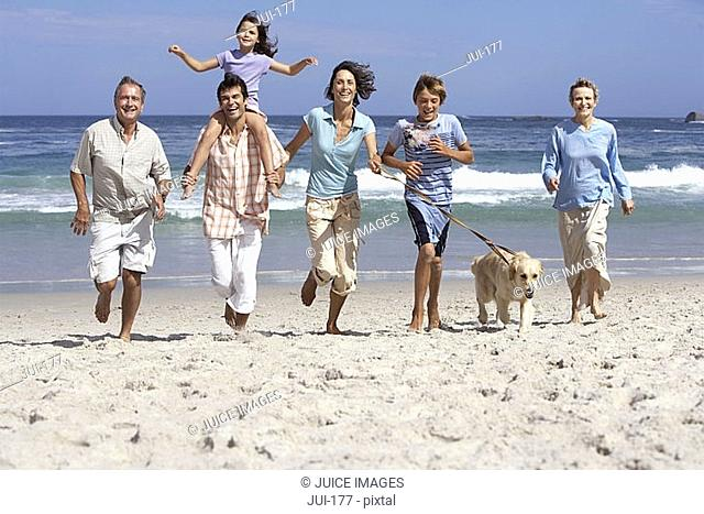 Three generation family running with dog on beach, smiling, girl 6-8 on father's shoulders