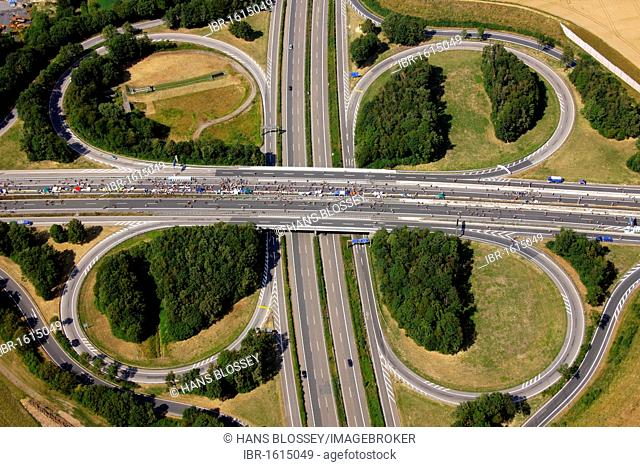 Aerial view, A40 and A45 highway junction, known as Sauerlandlinie, RUHR.2010 Action Still-life on the A 40, Dortmund, Ruhr Area, North Rhine-Westphalia
