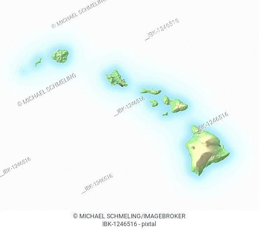 Hawaii, shaded relief map, USA