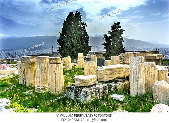Ruins Temple of Augustus Rome Acropolis Athens Greece. Temple of Augustus and Rome created on the Acropolis in 27 BC. Acropolis is the symbol of Greece