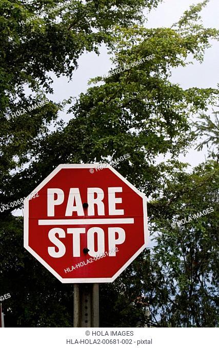 Stop sign, bilingual