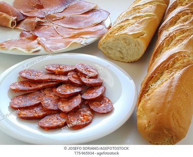 Sausage, ham and bread