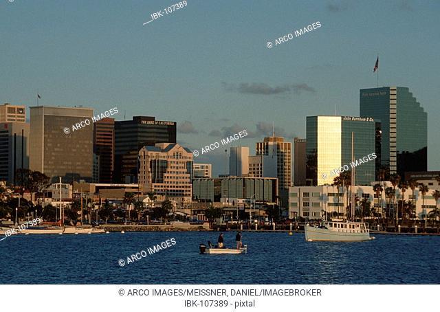View over San Diego Bay on the skyline of downtown San Diego, California, USA