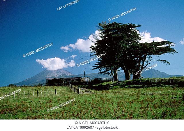 Mount Egmont. National park. Peak. Cloud cover. Landscape