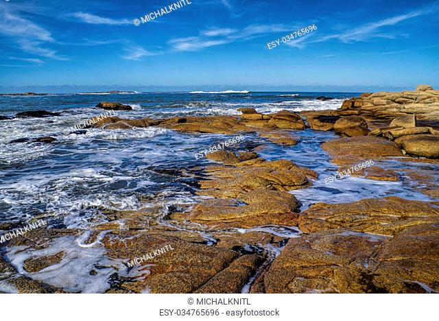 Amazing view of waves peacefully washing the coast in Cabo Polonio