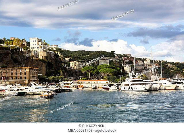 View from the harbour area on the city of Sorrento