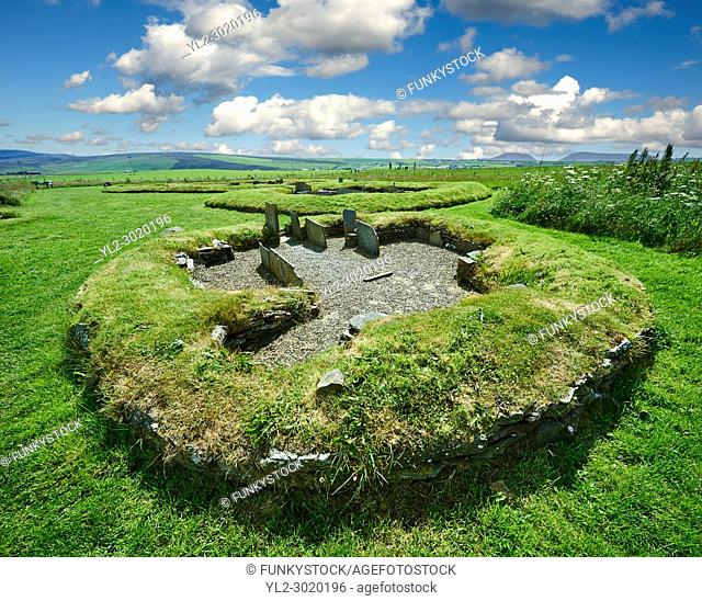 Neolithic Barnhouse Settlement archaeological site, circa 3000 BC, Loch of Harray, Orkney Mainland, Scotland,