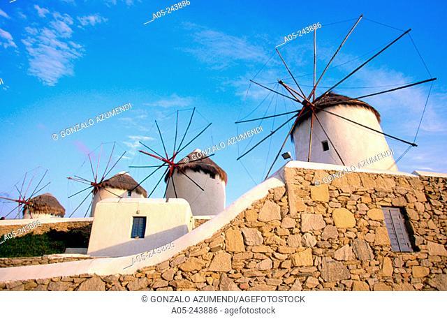 Windmills  in Mikonos. Greece