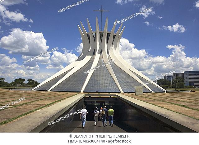 Brazil, Brasilia, listed as World Heritage by UNESCO, Metropolitan Cathedral of Our Lady of Aparecida by Oscar Niemeyer Architect, Underground entrance