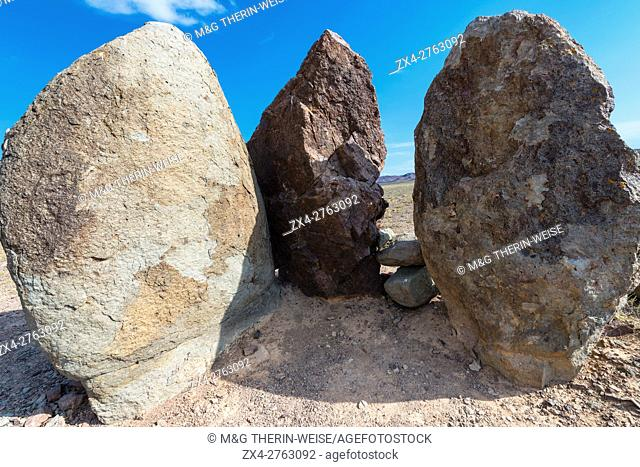 Ancient fireplace stones, Site of a 12th-century camp of Ghengis Khan and his troops, National Park Altyn-Emel, Almaty region, Kazakhstan, Central Asia