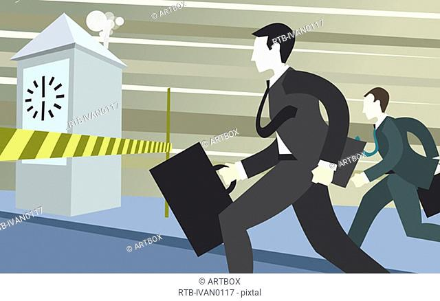 Two businessmen holding briefcases and running