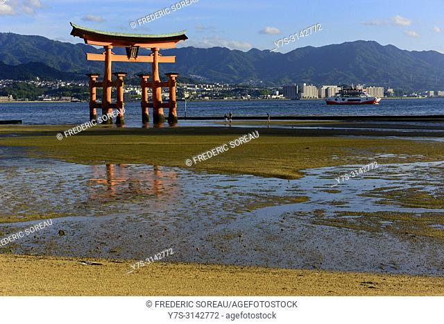 The floating torii of Miyajima,Honshu,Japan,Asia