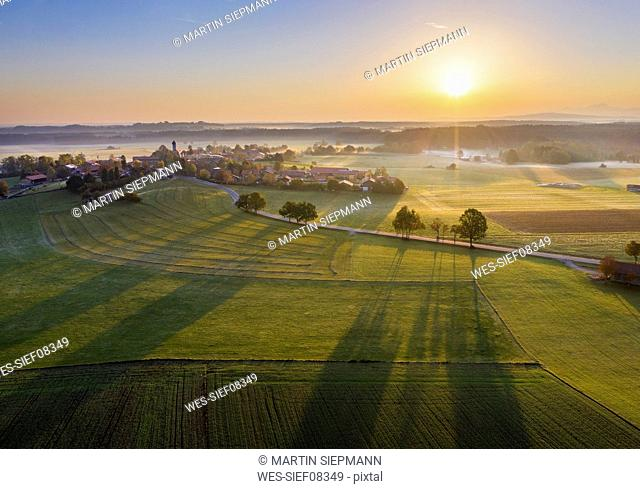 Germany, Bavaria, Lochen near Dietramszell, sunrise, drone view