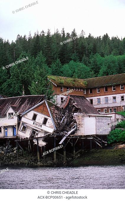 Inside Passage near Prince Rupert, Butedale, remnant remains of cannery site, British Columbia, Canada