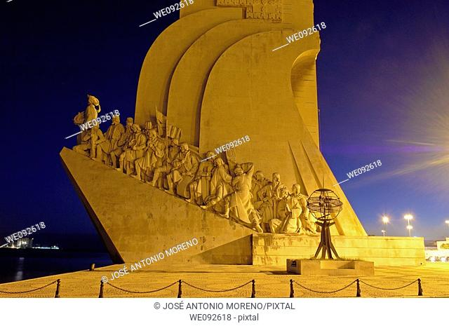 Monument to the Discoveries at Dusk, Padrao dos Descobrimentos, Belem, Lisbon, Portugal