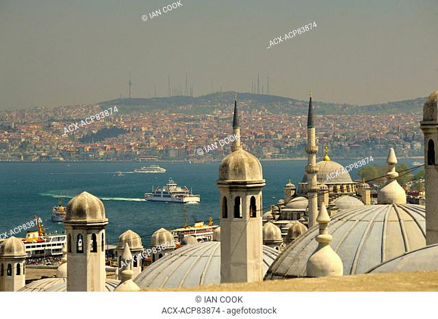 view across Bosporus from Suleiman or Suleymaniye Mosque, Istanbul, Turkey