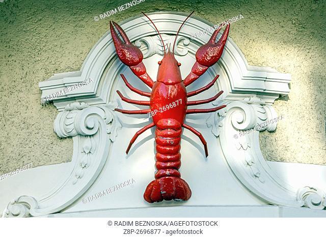 Red Crayfish, house sign, Brno, Czech Republic