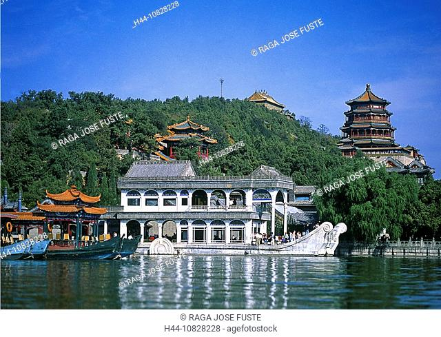China, Asia, Peking, Beijing, Beijing, new summer palace, Kunming lake, marble ship