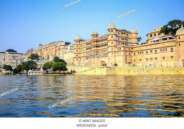 Exterior view of Udaipur City Palace, built in the 16th century on the shores of Lake Pichola