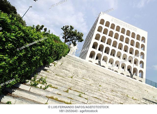 Palazzo della Civilta, an icon of Fascist architecture. EUR district, Rome, Italy