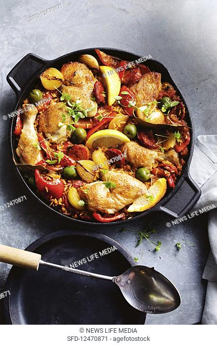 Chicken, chorizo and rice bake