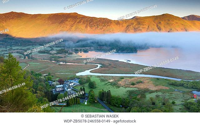 View across Derwent Water from Surprise View, Lake District National Park, Cumbria, England, United Kingdom, Europe