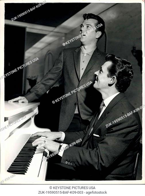 May 15, 1959 - Russ Conway - and Conway Twitty get together: Russ Conway the popular British pianist - and Conway Twitty the American singers were to be seen...