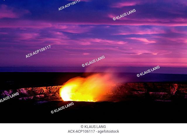 Eruption, Halema'uma'u Crater of Kilauea Volcano in the evening, Island of Hawaii