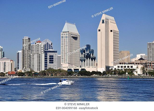 Speed Boat and Buildings