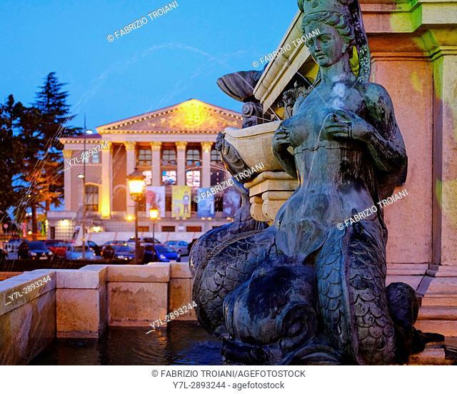 Mermaid of the Fountain of Neptune and the Batumi Drama Theatre, Batumi, Georgia