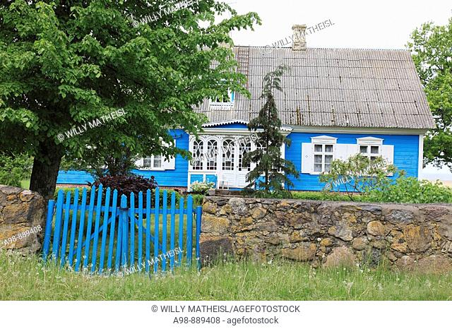 blue Estonian summerhouse at the boarder of Latvia, Estonia, Baltic Nation, Eastern Europe