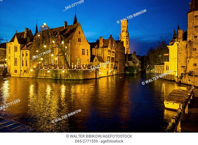 Belgium, Bruges, town skyline from the canal, dusk
