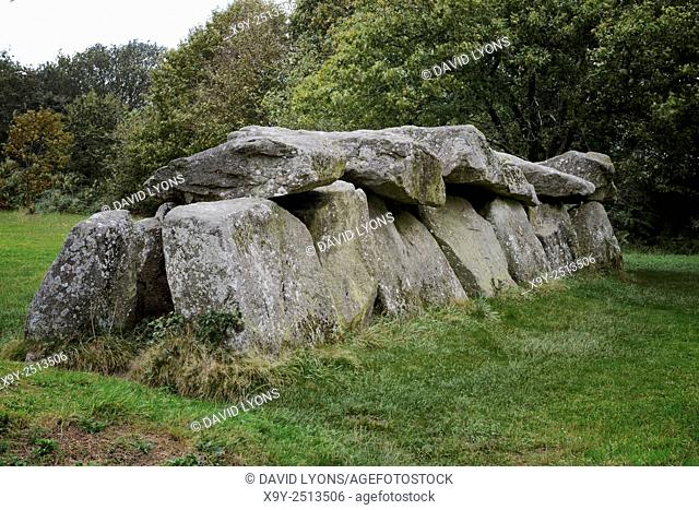 5000 year prehistoric passage grave allee couverte of Mougau Bihan near village of Commana, Finisterre, Brittany, France