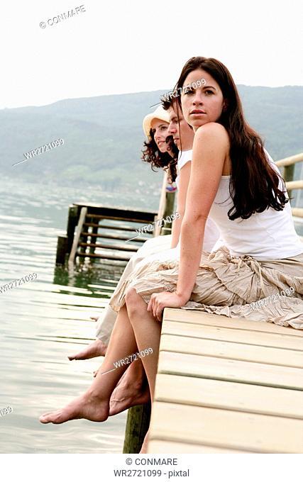 adults, relaxing, feel, lakeside, gentle, jetty, p