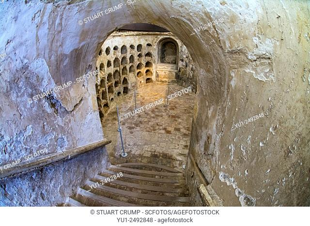 Entrance stairs to the chambers in a crypt of the Punic Wall at Cartagena