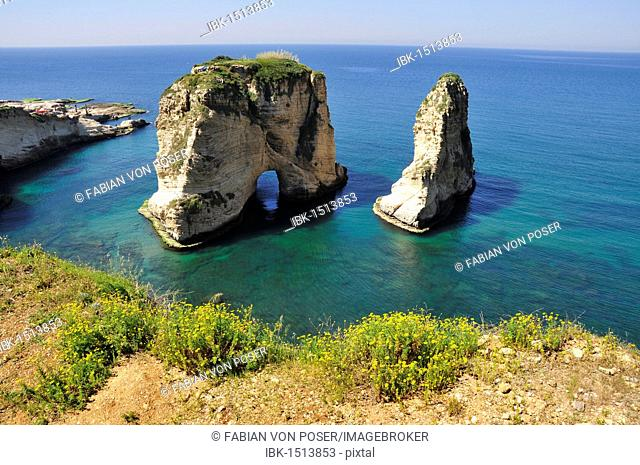 Pigeons Rock, Grotte aux Pigeons, limestone rocks eroded by wind and weather in the Raouche district, Beirut, Lebanon, Middle East, Asia