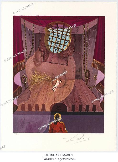 The Prison. Illustration for Three Plays by the Marquis de Sade by Dalí, Salvador (1904-1989)/Colour lithograph/Surrealism/1969/Spain/Private Collection/51x39