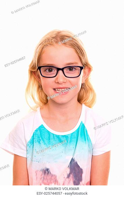 nice girl with blond hair, glasses and colorfull shirt