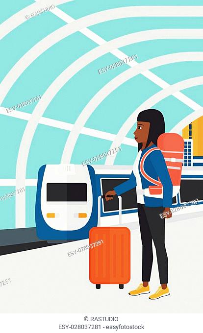 An african-american woman standing with suitcase on wheels and holding a briefcase in hand on the background of modern train arriving at the station vector flat...