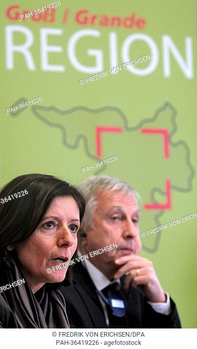 New Premier of Rhineland-Palatinate Malu Dreyer and French politician Jean-Pierre Masseret takes part in a press conference in Pont-a-Mousson near Nancy, France
