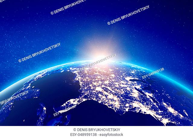 USA city lights. Elements of this image furnished by NASA. 3d rendering