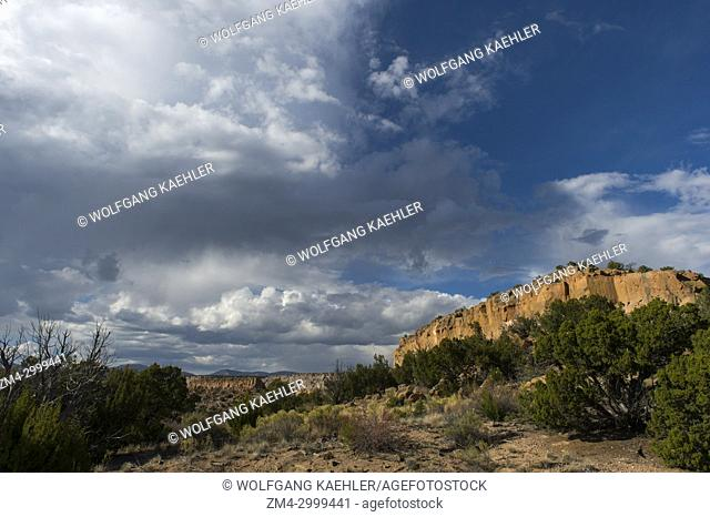 View of cliffs at Tsankawi, Bandelier National Monument in New Mexico, USA, near White Rock