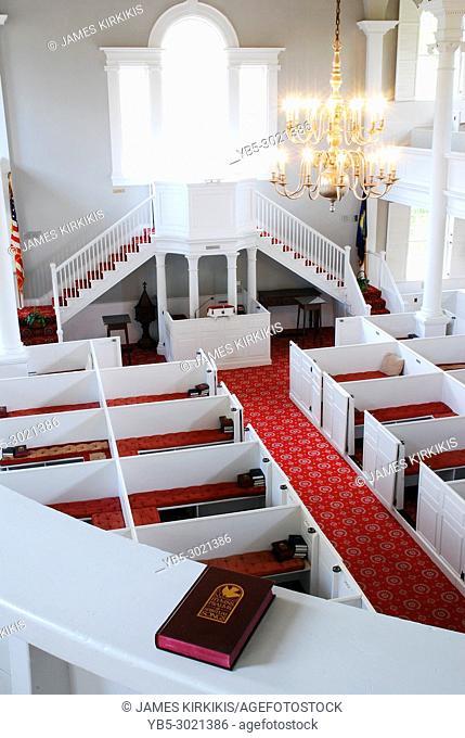 A view from the choir loft overlooking the First Congregational Church in Bennington, Vermont