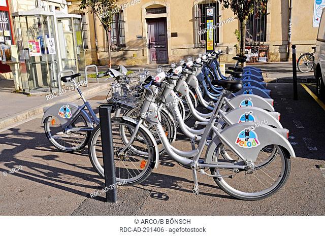 Bicycles for rent, Dijon, Departement Cote-d\'Or, Bourgogne, France / Burgundy